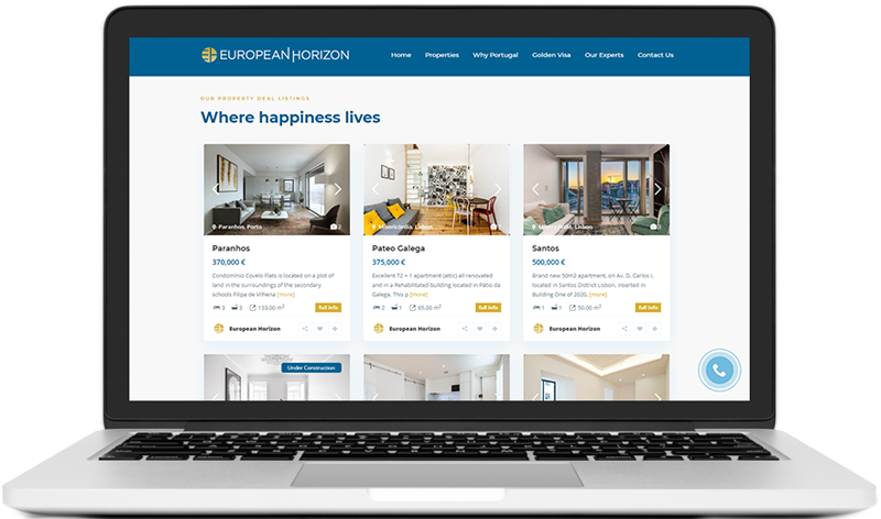 European Horizon website on laptop