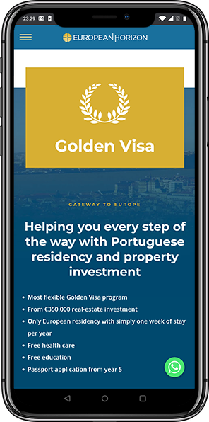 European Horizon website on mobile
