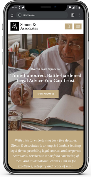 Simon & Associates website on mobile
