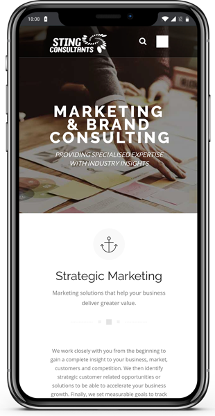 STING Consultants website on mobile